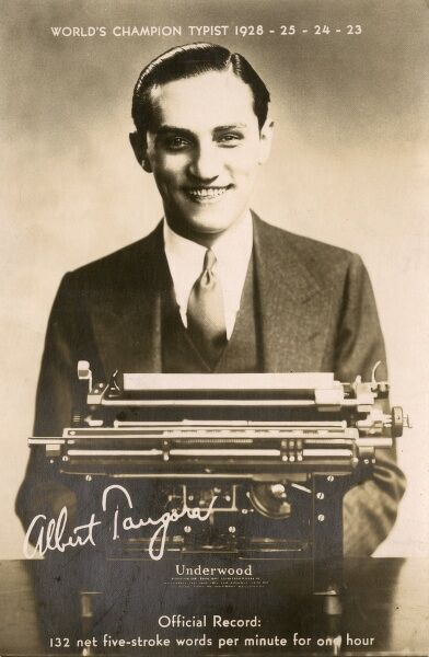 Albert Tangora (1903 1978) set the world speed record for sustained typing on a manual keyboard for one hour, 147 words per minute, on October 22, 1923
