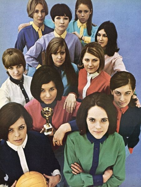 Examples of World Cup fashion for ladies. An assortment of colourful football shirts modelled by the female staff of London Life magazine in 1966