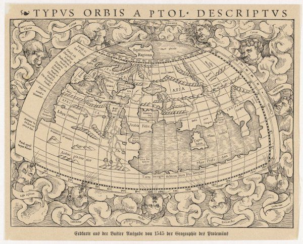 1545 map from Basel, Switzerland, depicting the world as known to Ptolemy in the 2nd century