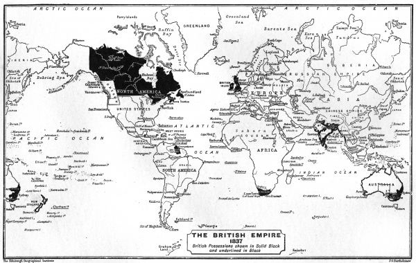 Map of the world showing British Empire possessions Date: 1837