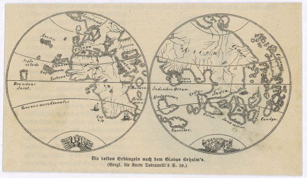 Map of the world in two halves, according to Martin Behaim