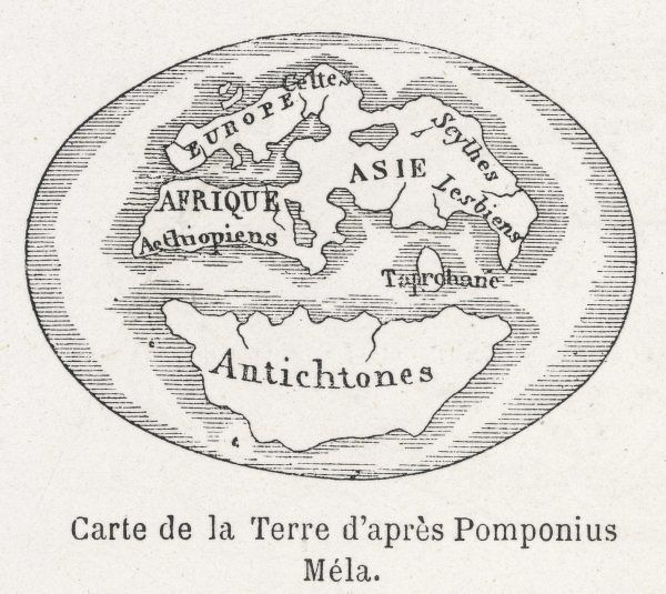 World Map as known to Pomponius Mela, Roman geographer