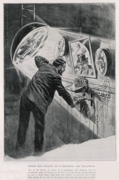 Comical illustration of a scientific idea for the future (note date, 1st April 1905), of a man on the telephone shaking hands with a mechanical type hand protruding from the wall