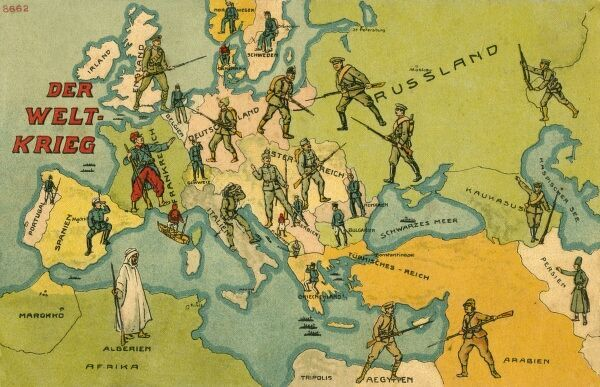'The World War'. World War One Combatants superimposed on a Map of Europe