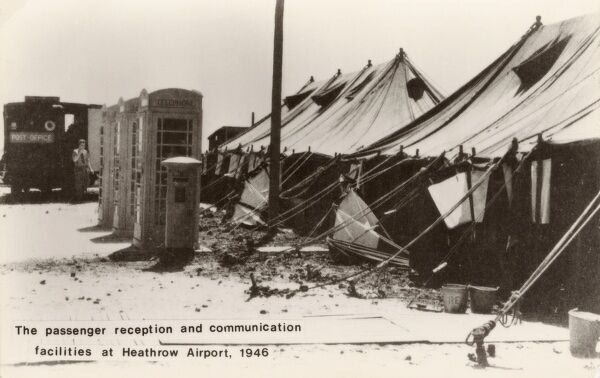 After World War Two - The rather basic Heathrow Airport Reception and Communication Facilities. Date: 1946