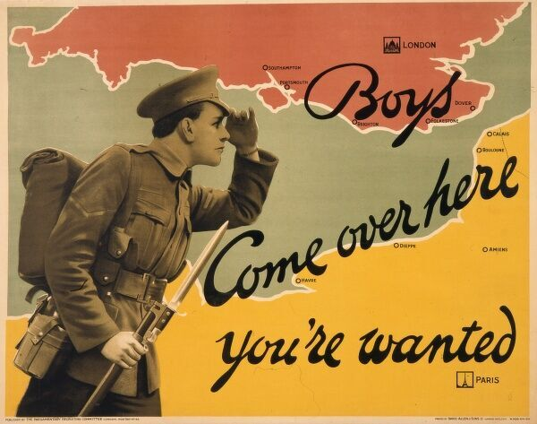 Poster produced by the Parliamentary Recruiting Committee during World War I, depicting a typical British Tommy in uniform with bayonet fixed, calling across from France to England for more volunteers
