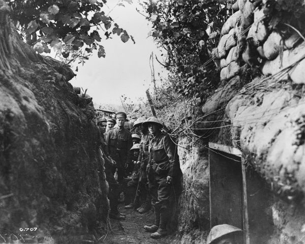 A communication trench behind the British lines on the Somme. These trenches were used to transport men, equipment and food supplies to the front line
