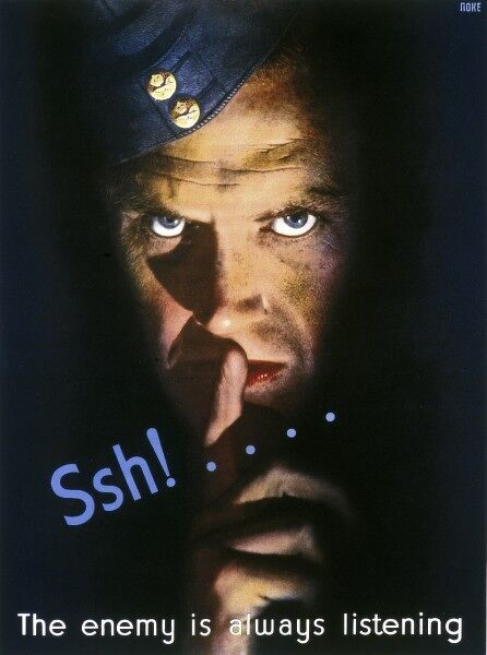 A poster from the Second World War advisting the public to keep quiet to avoid inadvertently passing information to the enemy. It features an RAF soldier putting his fingers to his lips in a gesture of silence