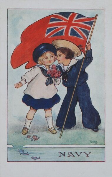 World War I postcard featuring two children dressed in naval uniform and holding the navy's Union Jack flag aloft