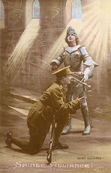 Saint Alliance. A British soldier joining forces with a spectral Joan of Arc to go and fight the German army on the Western Front. Patriotic card of the First World War. Date: circa 1916