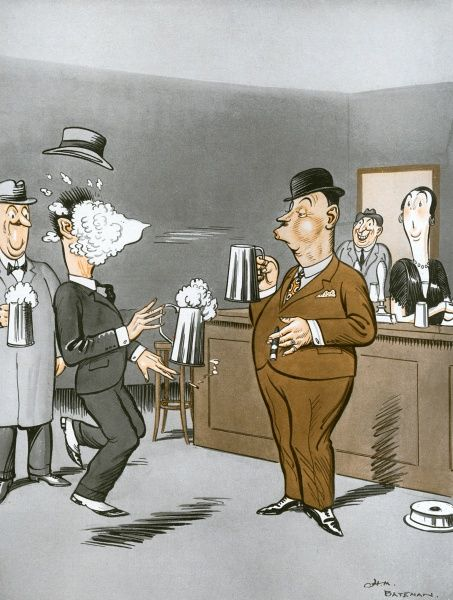 Humorous illustration by H. M. Bateman depicting a scene in a pub with the world's champion beer froth blower managing to aim the head of his pint right into the face of a customer. Date: 1927