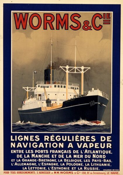 Poster advertising the shipping company Worms and Compagnie, founded in 1848 for the importation of English coal to France