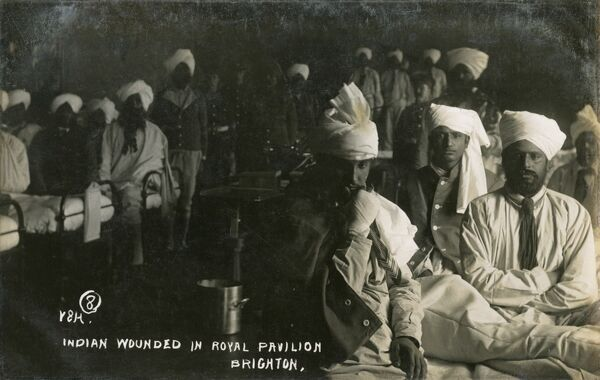 Indian soldiers wounded in action during the First World War, convalesce in the Royal Pavilion at Brighton