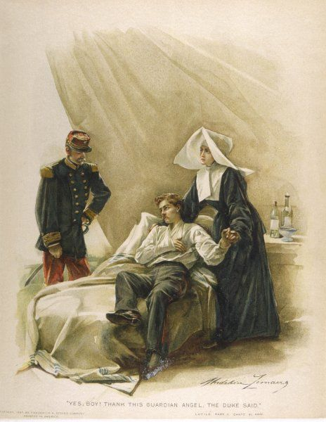 A wounded officer, with his arm in a sling, is tended to by a nun