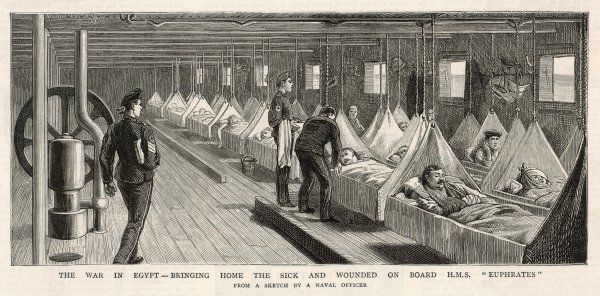 Wounded troops on HMS Euphrates