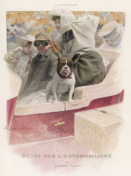 A lady must take care of her complexion, avoiding wind and sun - so if she goes driving, veils, goggles and bonnets are de rigueur. The dog can look after itself