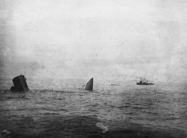 Scene during the Battle of Jutland, in the North Sea near Denmark, during the First World War, showing the wreck of the British battlecruiser HMS Invincible, in a photo taken from HMS Benbow about half an hour after the destruction of the ship
