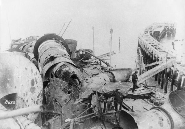 View of the wreck of HMS Vindictive in Ostend Harbour, Belgium, during the First World War