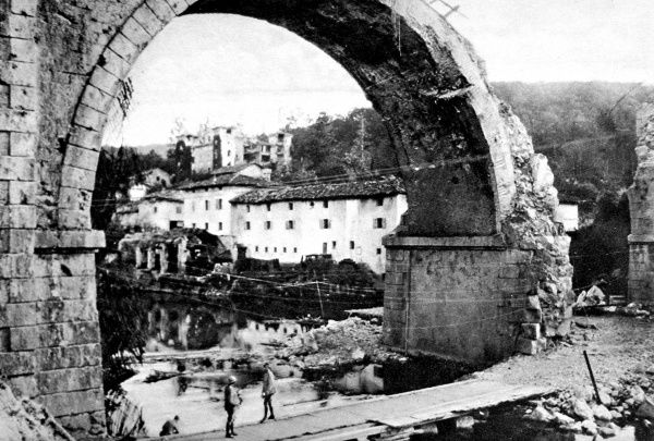 Photograph of a bridge destroyed during fighting in the north of Italy during the First World War