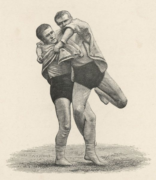 Cornwall and Devon style of wrestling showing two men demonstrating the'Inside Lock' or 'Click&#39