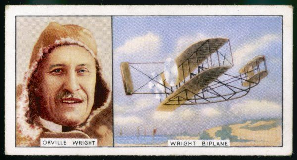 Orville Wright, and a 1908 model biplane