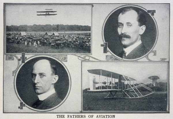 Portraits of Wilbur (left) and Orville (right) Wright and pictures of their planes