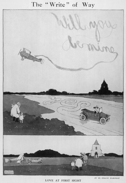 Cartoon, The Write of Way. Love at first sight as a couple propose and accept by writing in the sky with an plane and on the ground in a car