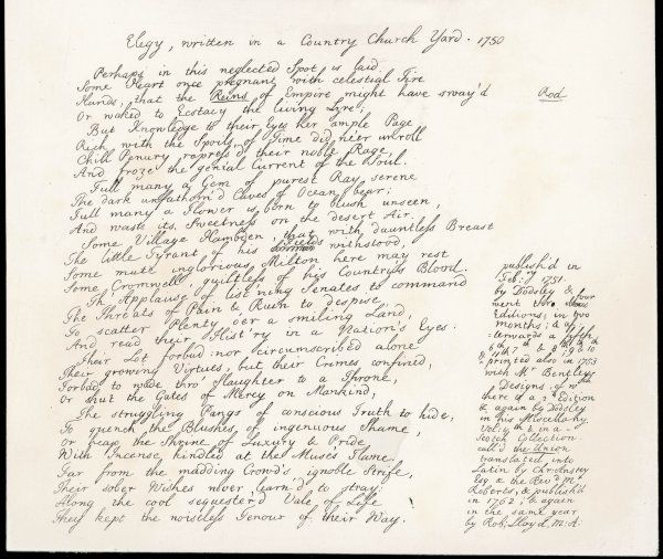 Part of the manuscript of his poem, 'Elegy Written in a Country Church Yard', inspired by a visit to Stoke Poges Churchyard, Bucks