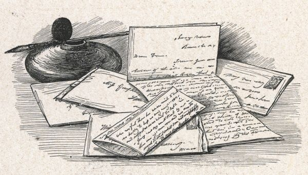 A collection of letters, an ink well and quill