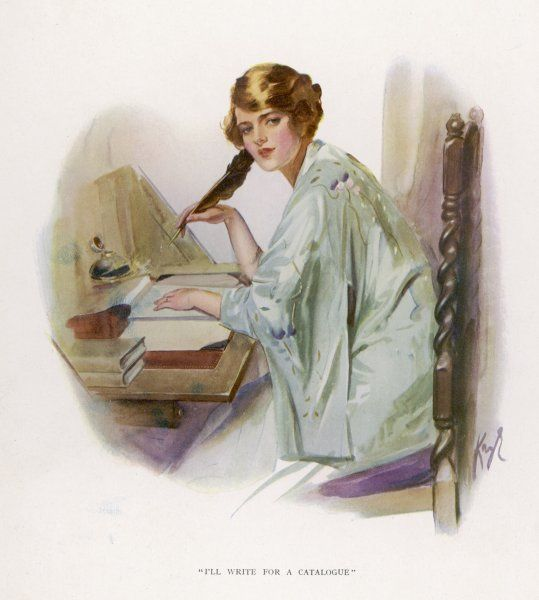 A lady sits at her desk, writing with a quill pen