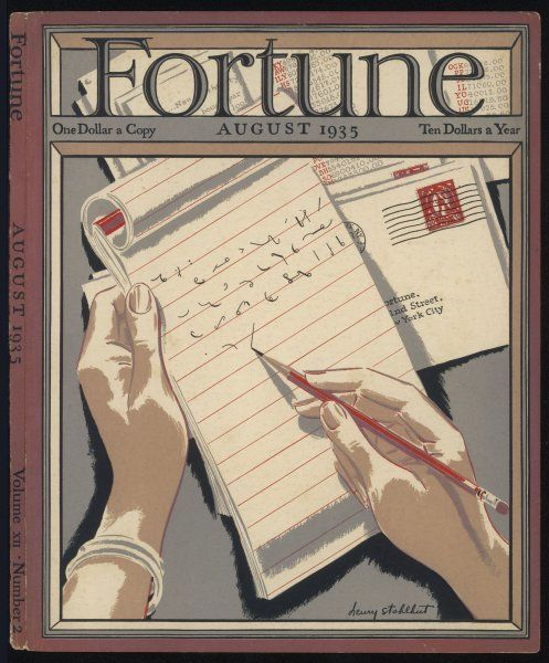 Shorthand writing: an example of Pitman's system, boasting that Fortune magazine has gained over 100,000 subscribers in five short years