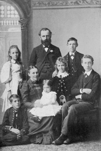 WILLIAM THOMAS STEAD English journalist with his family in 1891