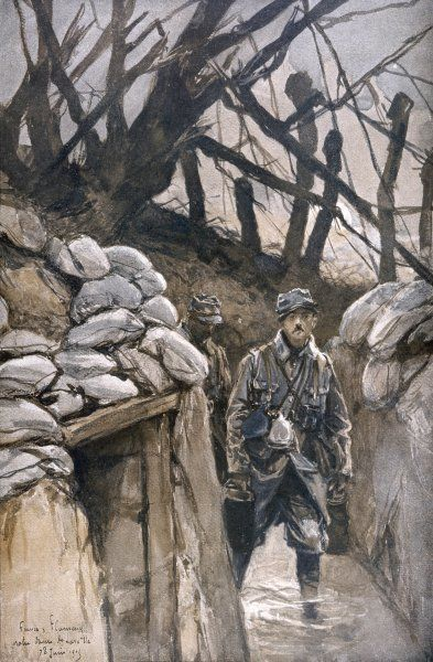 Notre-Dame de Lorette - a soldier walks through the flooded trenches