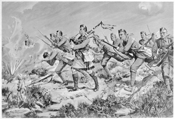 Piper McLennan leads a successful attack on a Turkish redoubt, playing his bagpipes to encourage his comrades