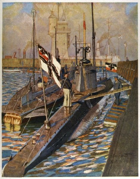 U-boats in Kiel harbour Date: 1915