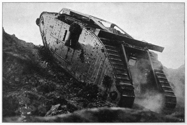A British tank in action in France