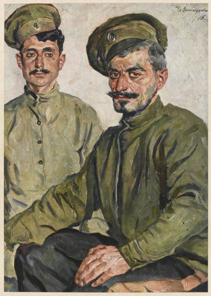 Armenian soldiers, glad to have a chance to fight the Turks during World War One