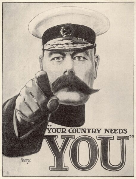 "KITCHENER POSTER ""Your Country Needs You"" The striking recruitment poster featuring Lord Kitchener"