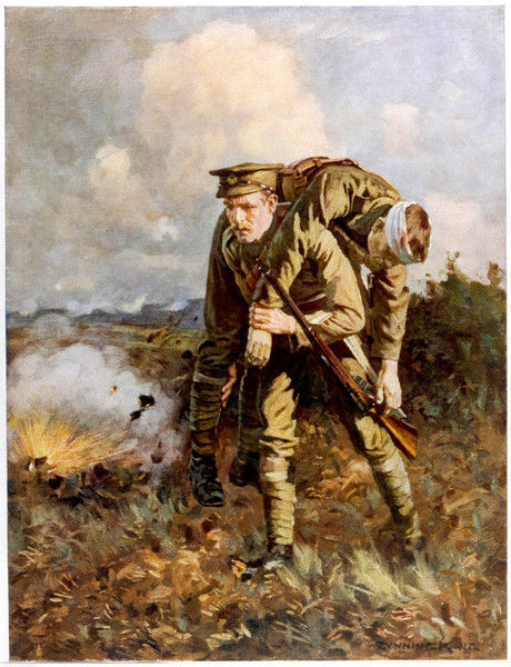 A British soldier carries his wounded comrade to safety. An illustration from a 1910 publication, anticipating the horrors of World War I