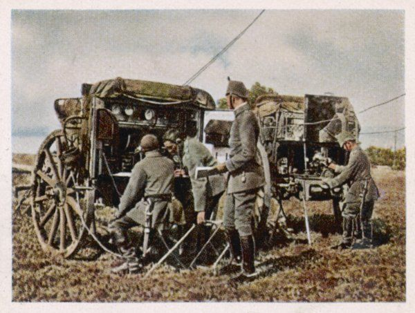 German soldiers operating a field radio station