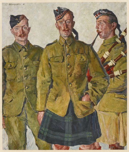 Three soldiers - one Irish, the other two Scots (one has a bagpipe) during World War One