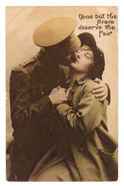 """None but the brave deserve the fair"" - a soldier kisses his girlfriend goodbye"