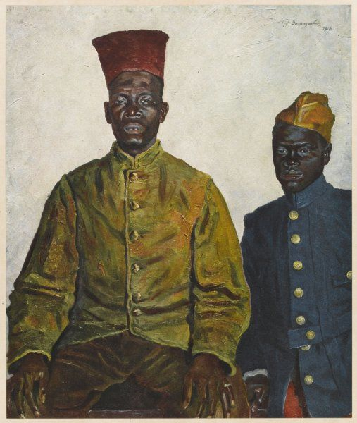 Two African soldiers of the Monde and Wolof peoples of Senegambia, serving with the French army during World War One