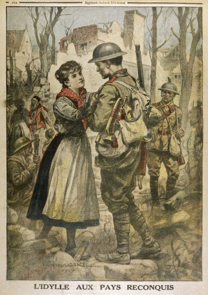 A British soldier is greeted by a young French woman, delighted that her village has been recaptured from the Germans