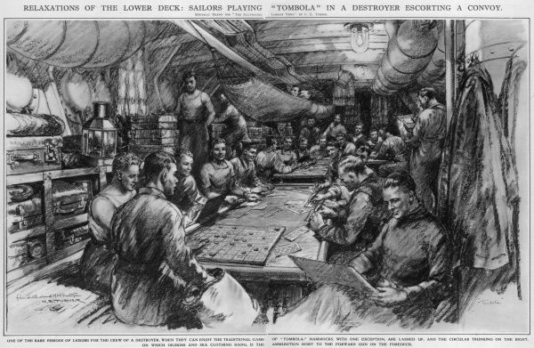 Relaxations of the lower deck: sailors playing tombola in a destroyer escorting a convoy. One of the rare periods of leisure for the crew of a destroyer; Royal Navy sailors play the game of tombola, read, smoke a pipe, lie in a hammock