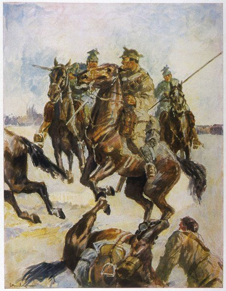 A British patrol is taken by surprise by an Uhlan cavalry attack