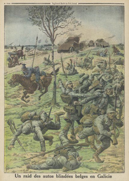 A raid by Belgian armoured vehicles causes havoc amongst Austrian troops in Galicia (Austria-Hungary)