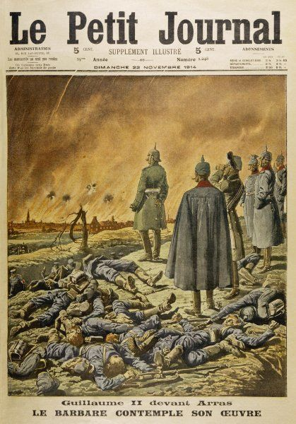 Kaiser Wilhelm II watches as the German attack on Arras continues