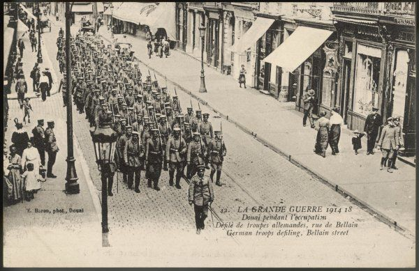 German troops march through Douai, northern France, during its period of occupation
