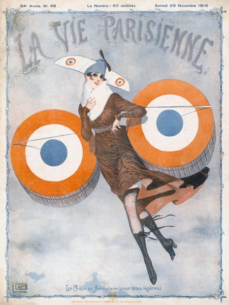 A patriotic young French girl takes to the air in her French air force inspired outfit. With wings and a propeller on her hat she flies through the sky, aided by the thrust from her French roundel painted hat boxes